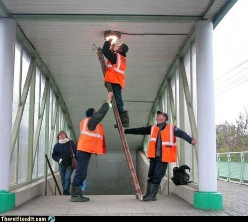 Ladder safety  try not too work like this.-imageuploadedbyhvac-site1418696465.684774.jpg